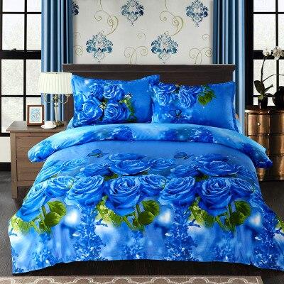 Ensembles de literie blanc bleu double Queen King Size literie en coton égyptien housse de couette taies d'oreiller en drap plat