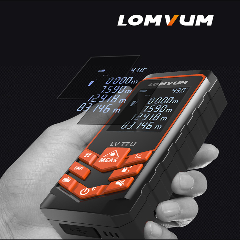 LOMVUM LV 66U 77U 120M Handhold Laser rangefinder Digital Laser Distance Meter Electrical Level tape Laser measurement lv h42 keyence digital laser sensor