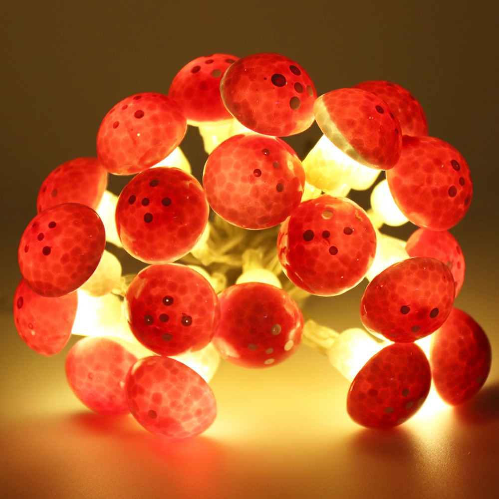20 LED Mushroom Shape Wire String Light Battery Operated Christmas Party Decoration Fairy Lights Creative Gift Garland Q