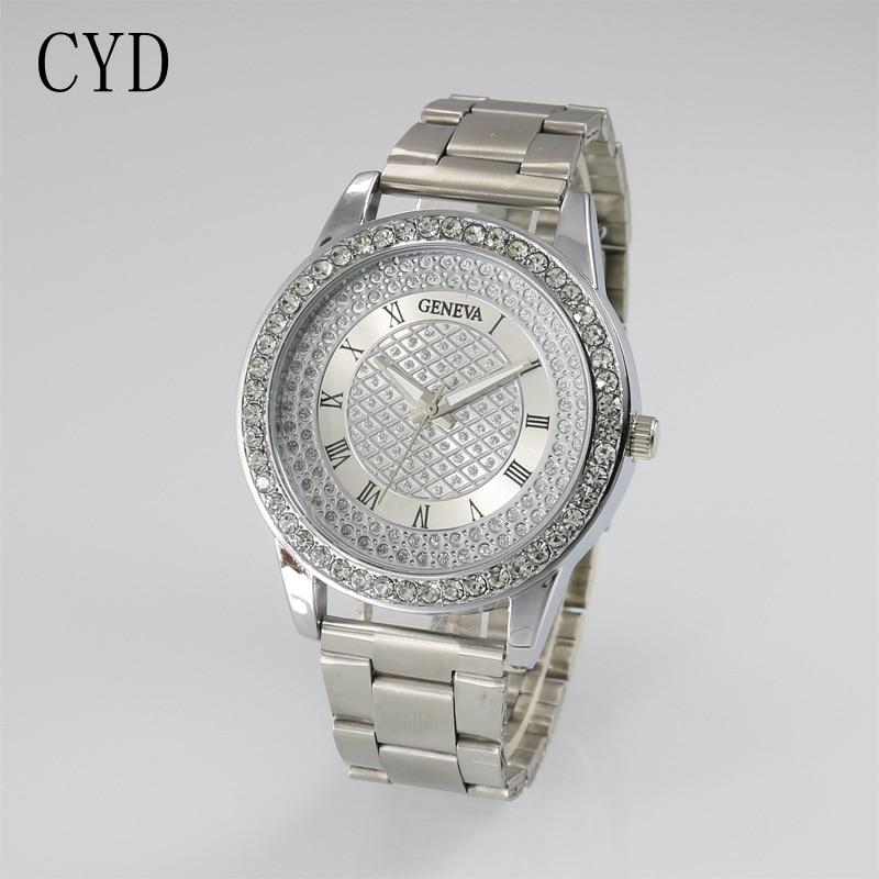 2017 fashion watch geneva unisex quartz watch women analog wristwatches crystal clocks stainless for Watches geneva