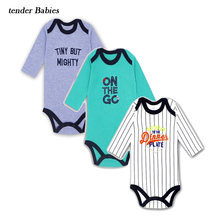 все цены на 3PS/LOT Baby Clothing Newborn Body Baby Rompers Triangle Long Sleeve Cotton Jumpsuit  Oneck Infant Pajamas Baby Boy Girl Clothes онлайн
