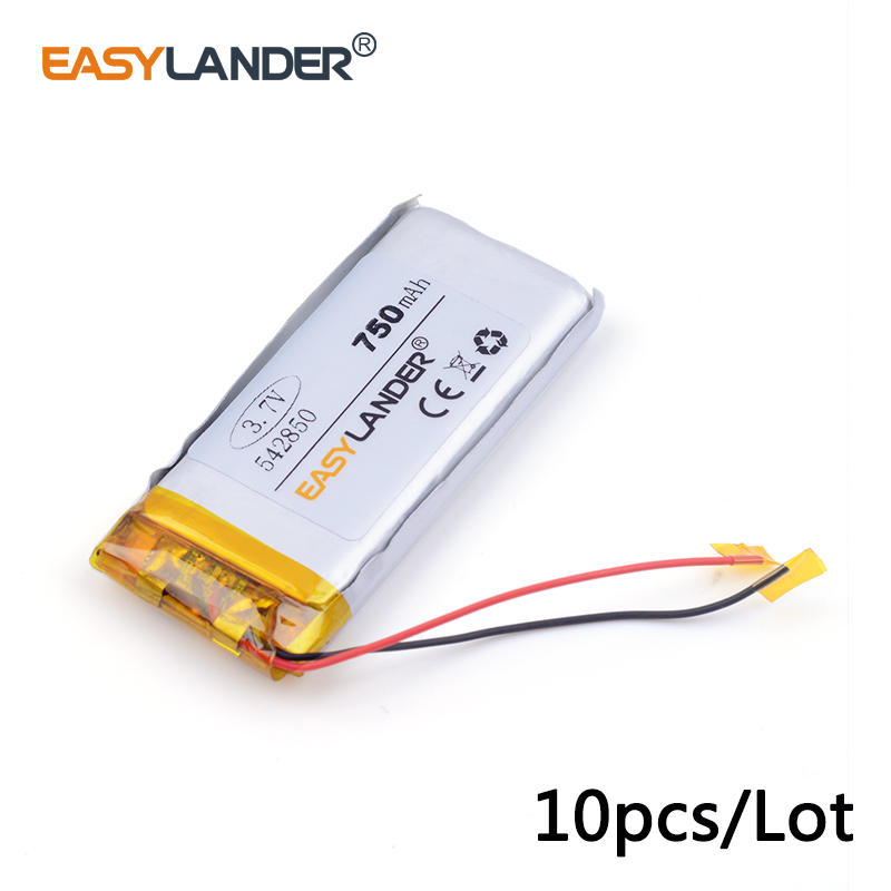 10pcs /Lot 750mAH 542850 3.7v lithium Li ion polymer rechargeable battery PLIB for dvr,GPS,mp3,mp4,cell phone, tablet batte