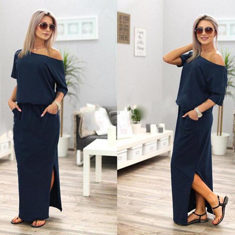 c53b90e2595 RENBANG Women Sexy Long dress Maxi Summer Dress Side Split Loose Dress Short  Sleeve Evening Party