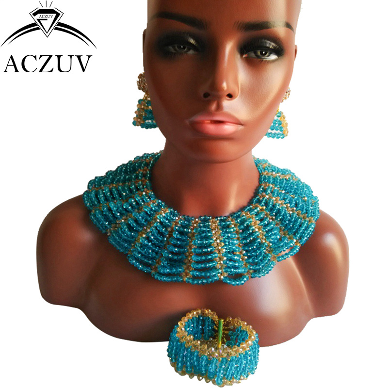 цена ACZUV Brand Lake Blue Crystal Jewelry Set for Women African Wedding Crystal Beads Necklace ad Earrings AS008 онлайн в 2017 году