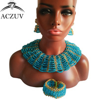 ACZUV Brand Lake Blue Crystal Jewelry Set for Women African Wedding Crystal Beads Necklace ad Earrings AS008
