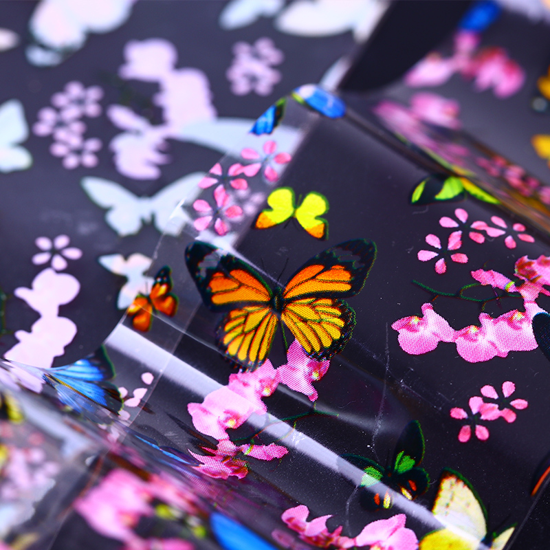 Butterfly Starry Nail Foil Stickers Colorful Floral Pattern Manicure Nail Art Tips Transfer Sticker Water Decals Nail Slider hot sale 20 sheets lot 20 4cm nail art transfer foil floral serial sexy black lace pattern nail sticker foil material diy wy188