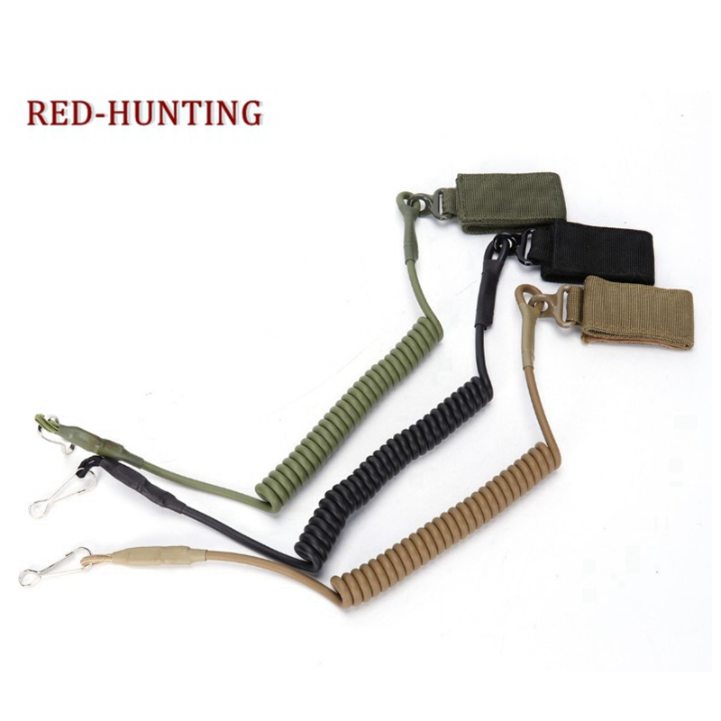 Tactical Single Point Pistol Handgun Spring Lanyard Sling Army Gear Quick Release Shooting Hunting Telescopic Strap