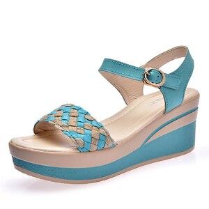 Image 3 - O16U Female Sandals Shoes Wedge Platform Leather Ladies Buckle Sandals High Heels Weave Strap Sandals For Women Summer 2017