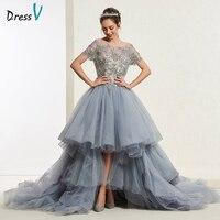 Dressv Dark Gray Beading Ball Gown Short Sleeves Quinceanera Dress Lace Up Princess Sweet 16 Dress Vestidos De Debutante 15 Anos