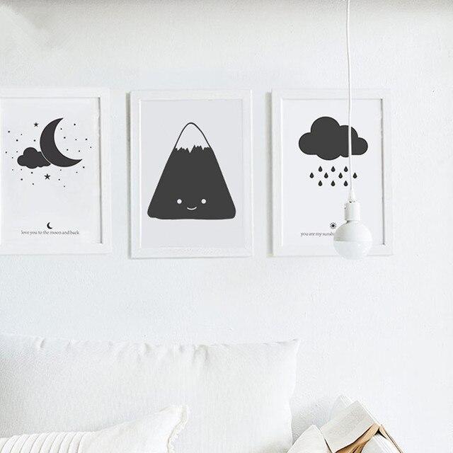 Nordic Kinder Cartoon Schwarze Wolke Mond Malerei Poster auf ...