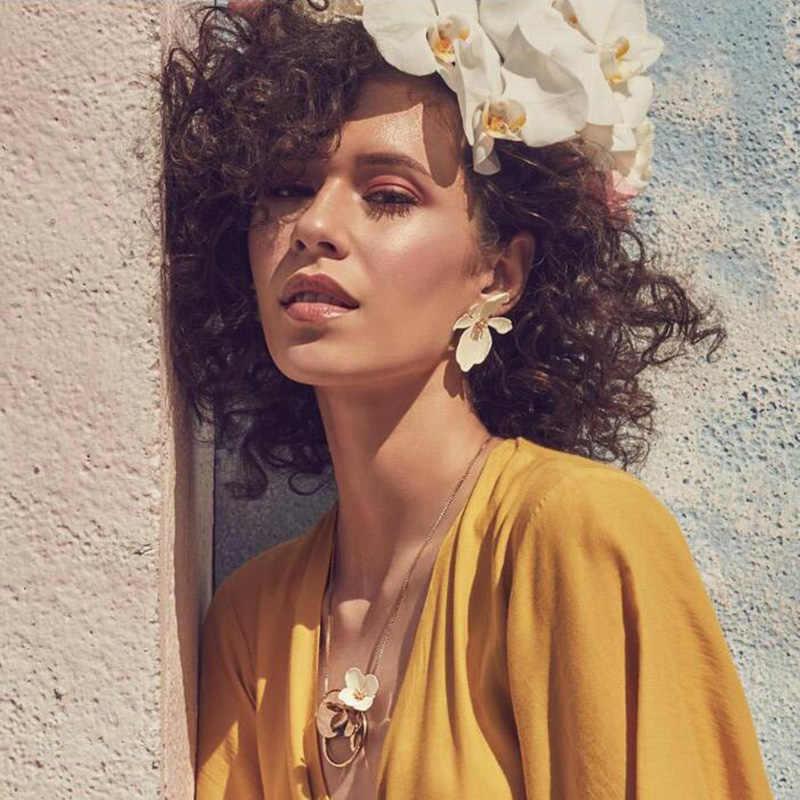 RscvonM Blue Flower Statement Dangle Earrings for Women Trendy Brand Pendientes Earrings Large Drop Earrings ZA Jewelry Gifts