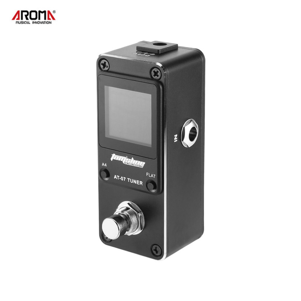 AROMA AT-07 Guitar Chromatic Tuner Mini Single Guitar Effect Pedal With True Bypass High Definition Color Screen
