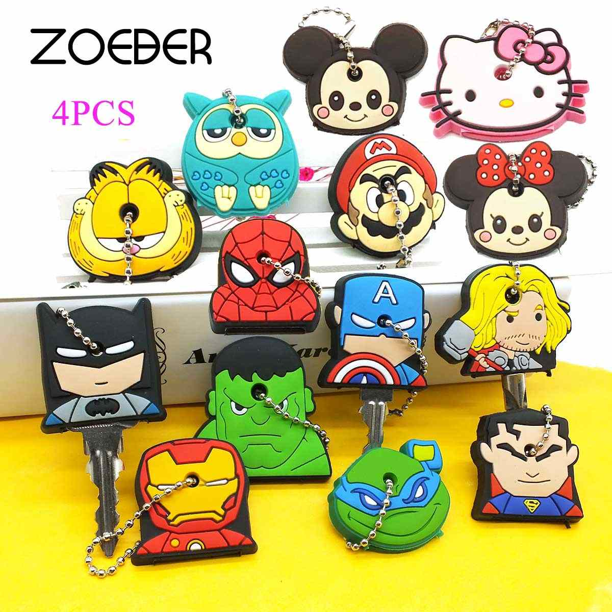 ZOEBER 4 pçs/lote Criança Dos Desenhos Animados Chaveiro Bonito Para As Mulheres Minnie KT Spiderman Batman Superman Super Hero do Anel Chave da corrente chave cadeia
