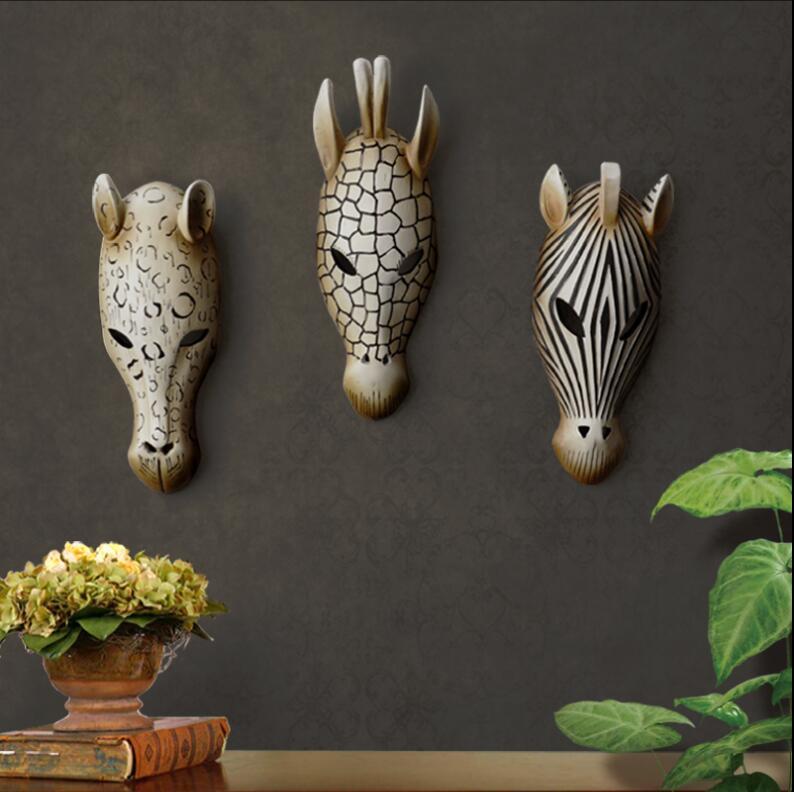 Européen 3D résine décorative mur autocollant créatif Animal tête pour la maison décoration murale artisanat résine tenture murale