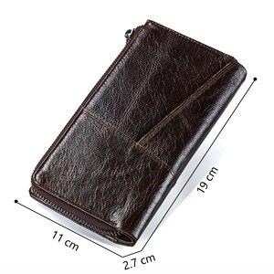 Image 2 - Contacts Brand Designer cartera de mano de cuero de vaca 100% auténtico para hombre, monedero, tarjetero, Vintage, con bolsillo para monedas