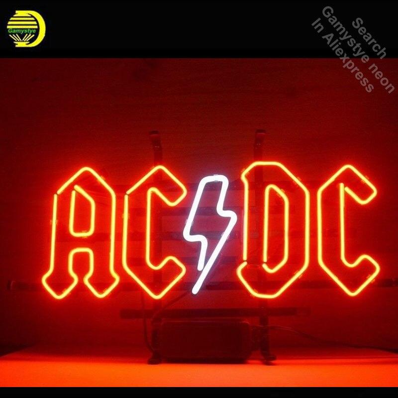 Enseigne au néon pour Ac Dc flipper néon Tube signe artisanat Commercial fenêtres néon lampe de poche signe décorer bière Bar pub salle de jeu