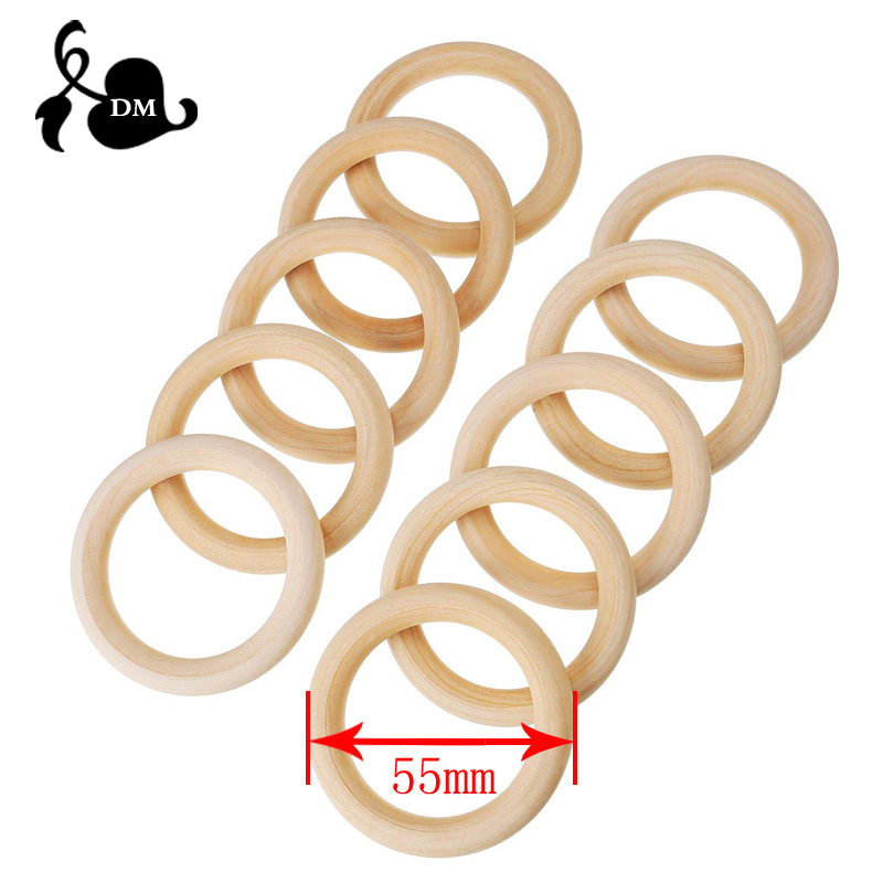 50pcs 55mm Baby Natural Teething Rings Wooden Necklace Bracelet DIY Crafts Unfinished Wood Rings DIY Crafts Baby Teether