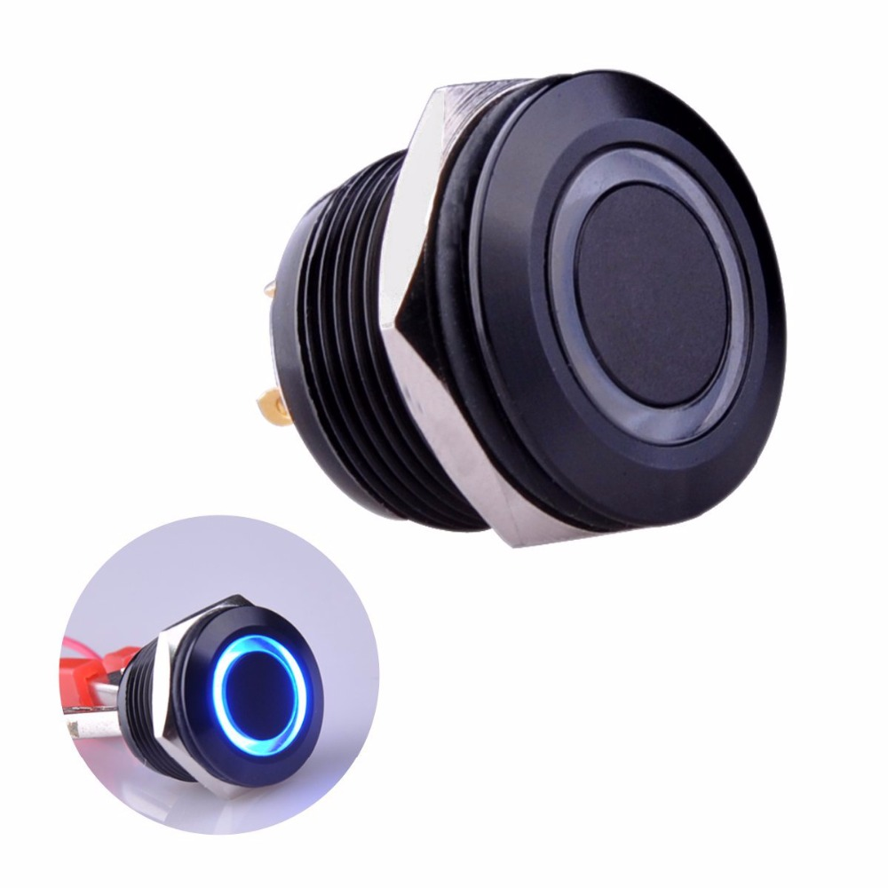 Momentary Pushbutton Switch 1NO SPST Black Metal Shell with Blue LED Ring Suitable for 16MM Mounting Hole Pack a Resistor (Blue)  [vk] 1241 3257 switch push spst no 100ma 42v switch