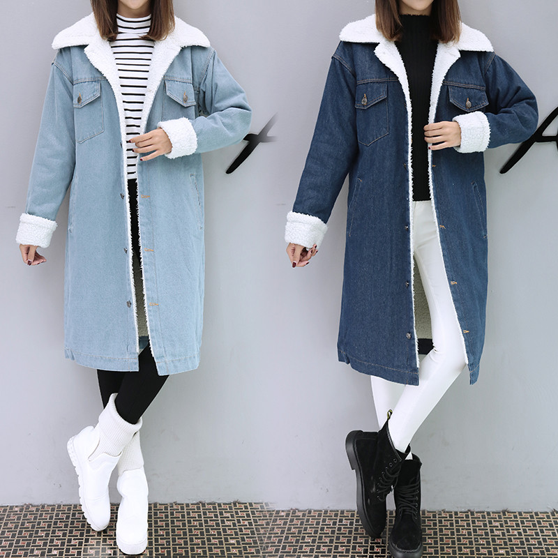 Hodisytian Winter Fashion Women Trench Thick Coat Full Sleeve Fleece Warm Slim Long Denim Windbreaker Outerwear