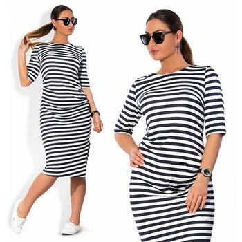 5XL 6XL Large Size 2019 Spring Autumn Dress Big Size Dress White Black Striped Dresses Plus Size Women Clothing Belt Vestidos 1