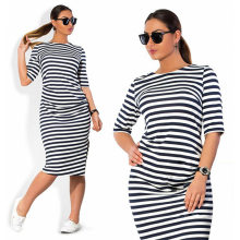 5XL 6XL Large Size 2018 Spring Summer Dress Big Size Dress White Black Striped Dresses Plus Size Women Clothing Belt Vestidos(China)