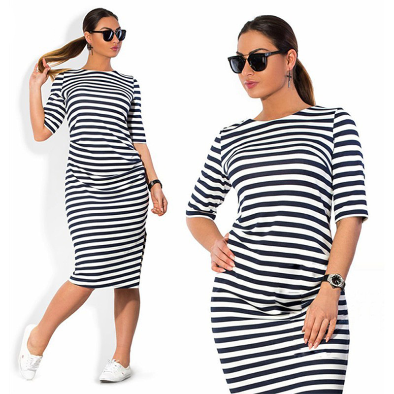 5XL 6XL Large Size 2018 Spring Summer Dress Big Size Dress White Black Striped Dresses Plus Size Women Clothing Belt Vestidos
