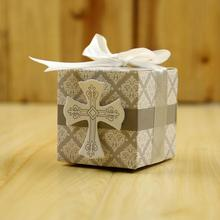 100pcs/pack Creative Gift Box Rustic and Lace Kraft Favor with Ribbon Wedding Party Decoration Cross Candy Paper