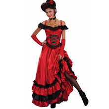 Sexy Spaanse Zigeuner Rode Cancan Kanten Jurk Vrouwen Off Shoulder Party Lange Jurken Vestidos Plus Size Western Saloon meisje jurk(China)