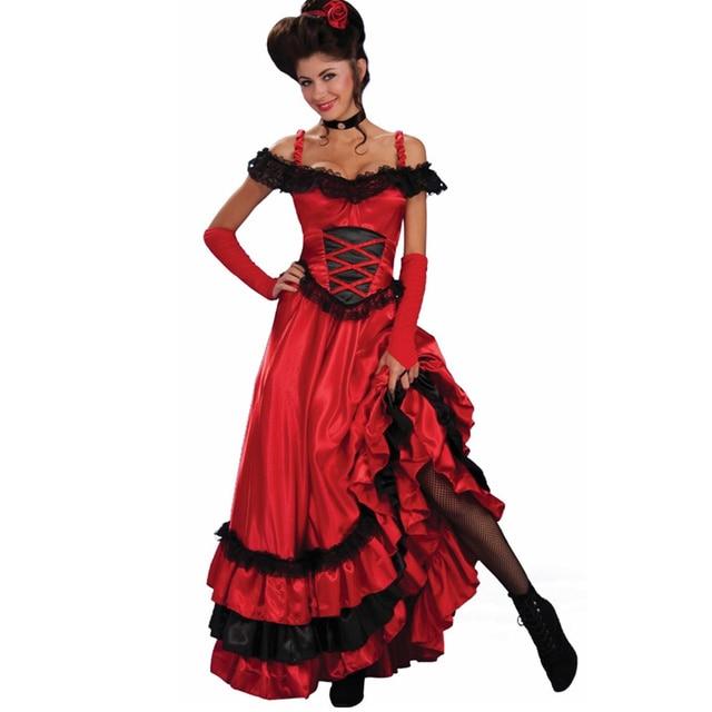 Rode Kanten Jurk.Sexy Spaanse Zigeuner Rode Cancan Kanten Jurk Vrouwen Off Shoulder