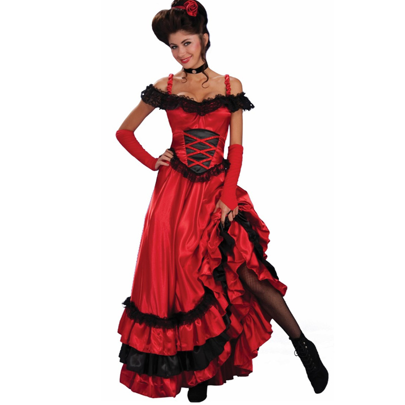 Sexy Spanish Gypsy Red Cancan Lace Dress Women Off Shoulder Party Long Dresses Vestidos Plus Size Western Saloon Girl's Dress
