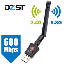 DZLST Network Cards Wifi Adapter USB Dual Band 600Mbps 5/2.4Ghz LAN Antenna Dongle for Win 7 8 10 Mac Vista Windows XP