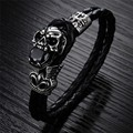 Top Quality Steampunk skull leather bracelet Men Jewelry 21.5cm Length Fashion Black Genuine Leather Woven Bangle