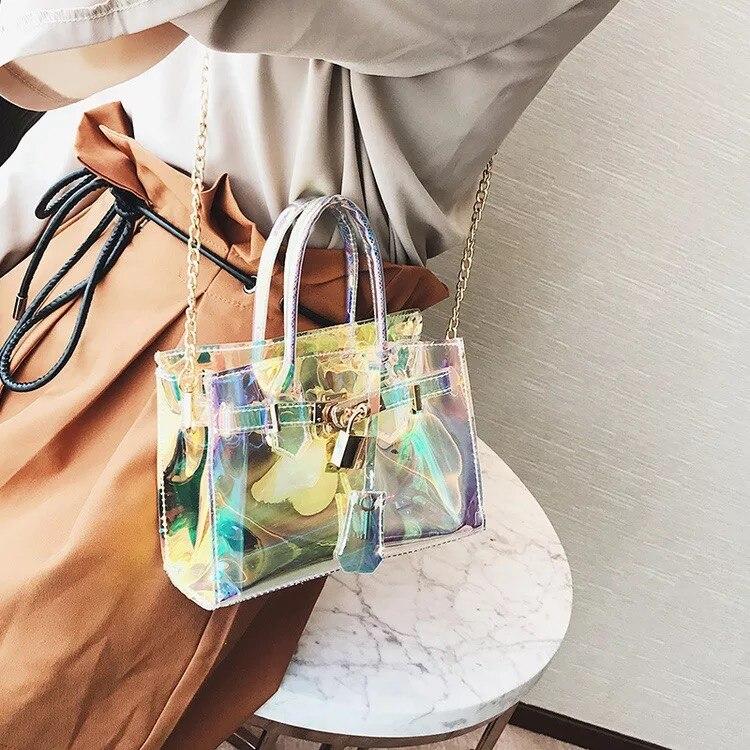 8421588d7 TZY holograma mujer bolsa transparente claro playa bolso PVC plástico bolsa  femenina Color caramelo Crossbody bolsa regalo de Año Nuevo en Cubos de  Bolsos y ...