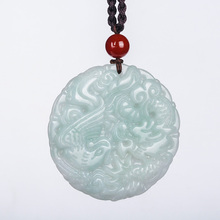 цена на Wholesale  Chinese hand carved Myanmar Emerald  Dragon phoenix pendant Lucky Amulet couple longfeng  jade necklace fine jewelry