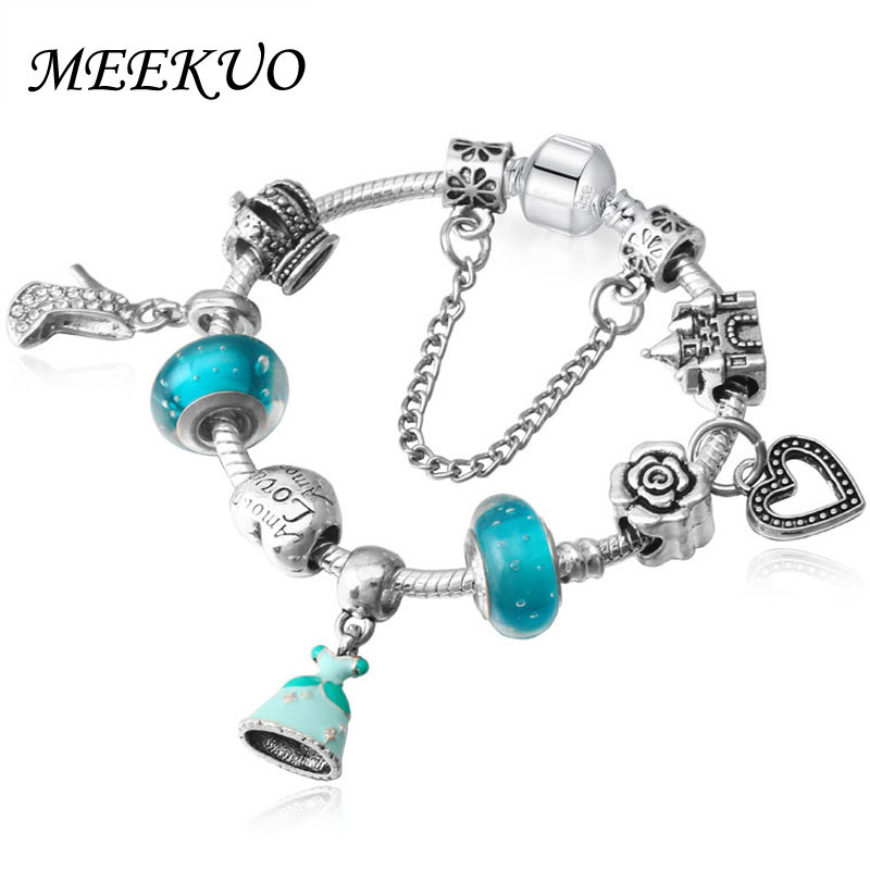 MEEKUO Cinderella dress dangle charms  bracelet with Crystal shoes Pendants love Bracelet for female jewelry BL027