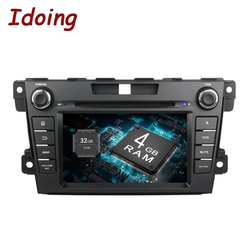 Idoing 2Din Volant Android 8.0 Fit Mazda CX-7 CX 7 CX7 Voiture DVD Lecteur 8 Core 4g + 32g GPS Navigation Écran Tactile WiFi OBD2