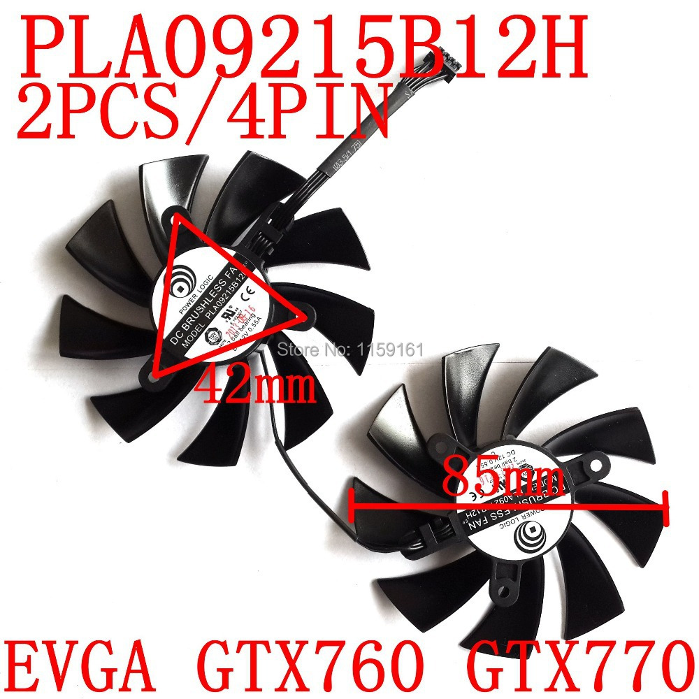 Free Shipping PLA09215B12H 2pcs/lot 12V 0.55A 85mm For EVGA <font><b>GTX760</b></font> GTX770 Double ball Graphics Card Cooling <font><b>Fan</b></font> 4Wire 4Pin image