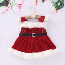 Christmas Newborn Baby Girls Princess Sequin Fluffy Bodysuit Red Dress Costume Clothes 0-24M(China)