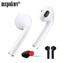 1 Pair Mini Handsfree Bluetooth Earbud Wireless Earphone Earpiece Stereo Music Earphone i7 tws With Mic for Smart Phone PC(China)