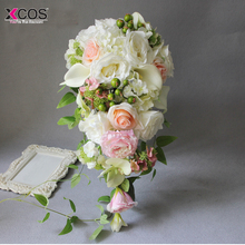 2018 Waterfall White Pink Wedding Flowers Bridal Bouquets Artificial Wedding Bouquets Bouquet De Mariage Rose