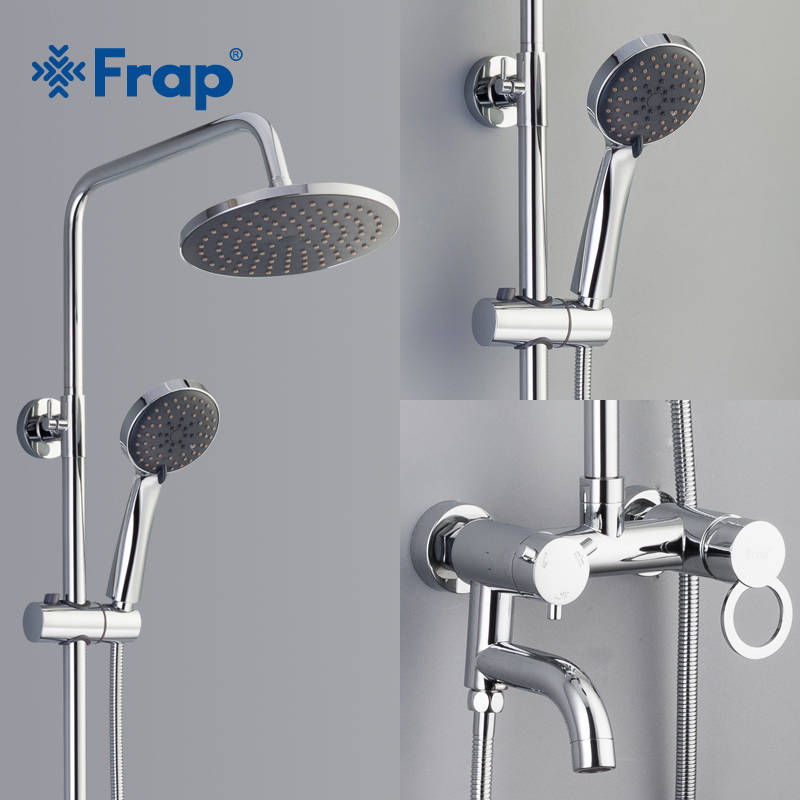 Frap 1 set Bathroom Rainfall Shower Faucet Set Mixer Tap With Hand Sprayer chrome bath bathtub shower faucets system F2422/23 chrome polished rainfall solid brass shower bath thermostatic shower faucet set mixer tap with double hand sprayer wall mounted