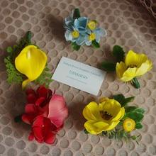 INDIGO-5pcs Yellow Anemone Boutonnie Calla Hydrangea Wedding Decoration Artificial Flower Event Party Free Shipping