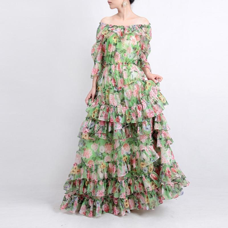 2018 Fashion Silk Summer long Dress Women's Slash Neck Sexy Flower Print Elegant Cascading Ruffle Bohemia Ball Gown Maxi Dress