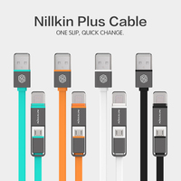 Original New Nilkin High Quality Micro Usb 8pin USB 2 In 1 Sync Data Charger Cable