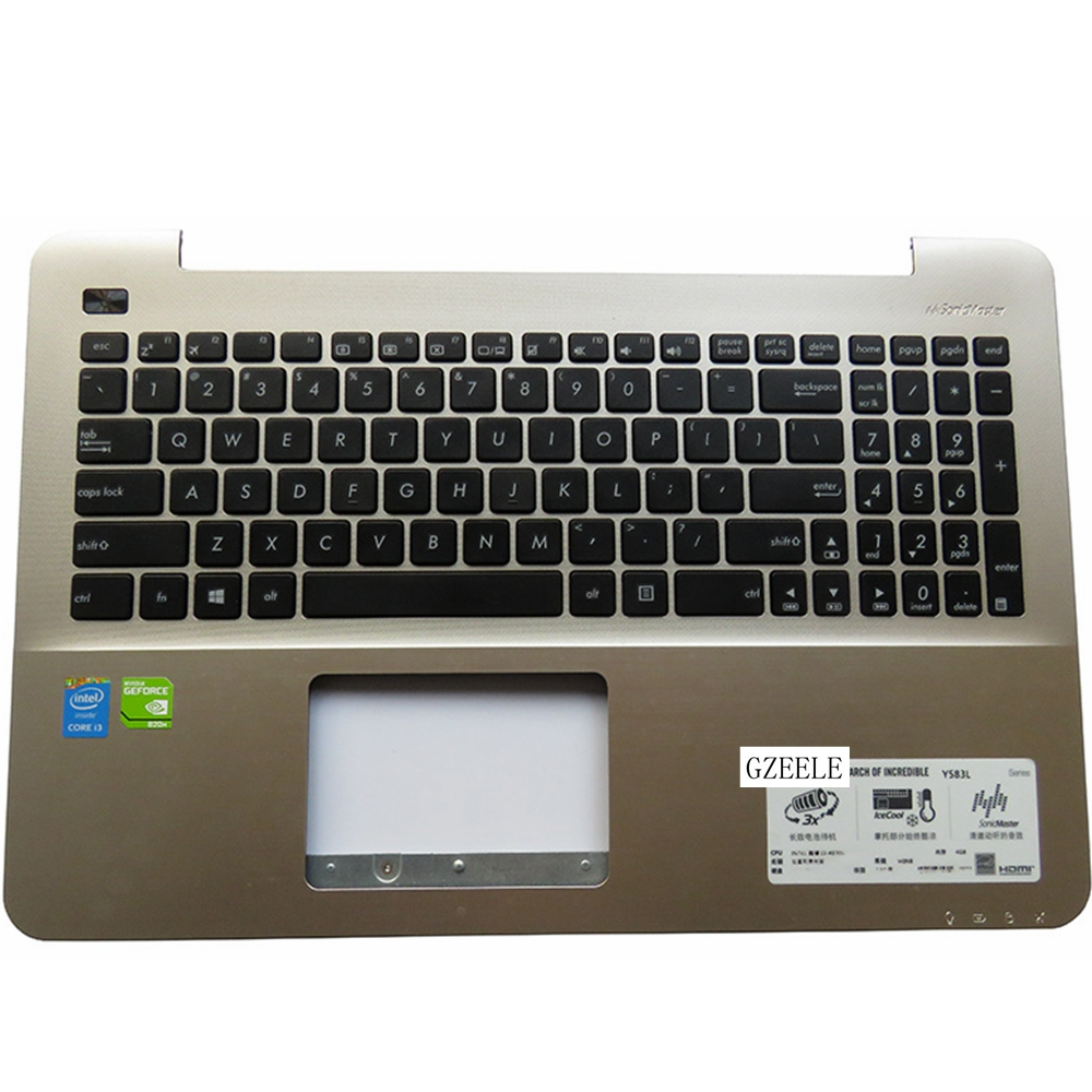 New For Asus K555 A555 X555 K555L A555L X555L W519L Y583L Laptop keyboard US Version keyboard  C case Champagne laptop keyboard for asus ux51 ux51vz 9z n8bbu h01 with us version