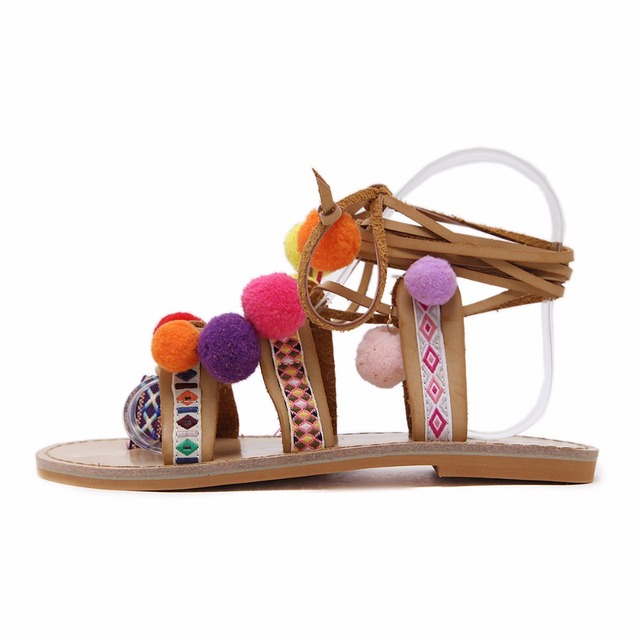 Pom-pom Brown Gladiator Sandals