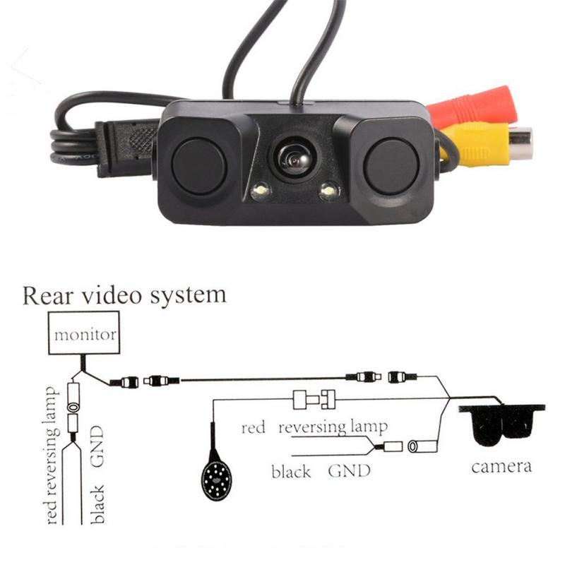 3 in 1 Car Back Radar Camera Backup Rear View Camera With 2 Parking Sensors цены