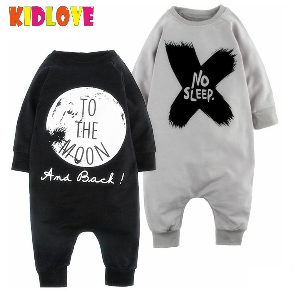 KIDLOVE Baby Boys Letters Printed Romper Gray Black No Sleep Moon Letters Long Sleeve Jumpsuit Outfits Newborn Baby Clothes