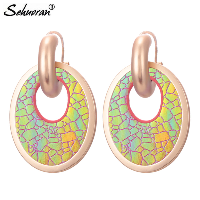 Sehuoran Earrings 2018 Aretes Pendientes Leather Oval Drop Earrings Match Mat Sliver&Gold Big Earrings Fashion Jewelry Earring