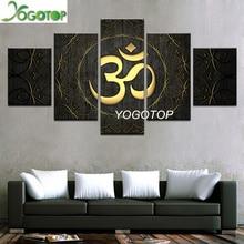 YOGOTOP DIY Diamond Painting Cross Stitch Kits Full Embroidery 5D Square Drill Mosaic Decor Buddha Golden Symbol 5pcs ML553